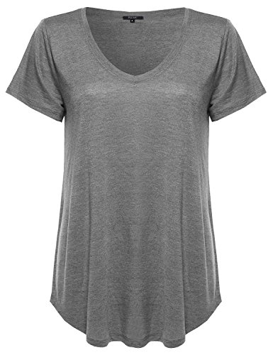 Plus Size Basic V-Neck Tee Shirt in Various Colors Black Size 1XL
