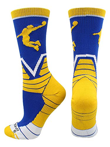 MadSportsStuff Basketball Player Victory Crew Socks (Royal/Gold/White, Medium)