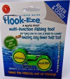 Hook-Eze Fishing Tool Green - 1 Twin Pack - Hook Tieing & Safety Device + Line Cutter - Tie Swivels Cover 2 Poles Manufacturer Warranty - Arthritic Disability Saltwater Freshwater + Hook Remover