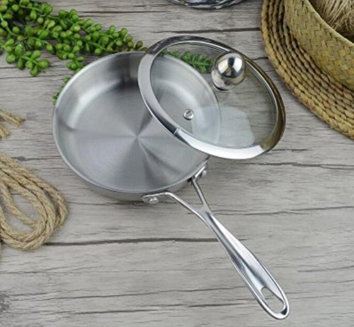 [Yzakka 304 Premium Quality Stainless Steel Deep Frypan - 6 Inch- 15 x 3.5 cm - Multipurpose Chefs Frying Pan w/ Lid Use for Home Kitchen or Restaurant (with Lid)] (Stainless Deep Skillet)