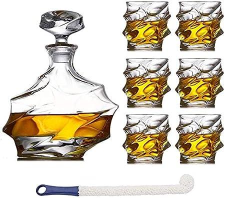 QJTZ - Juego de 7 jarras de whisky de cristal con 6 copas de ...