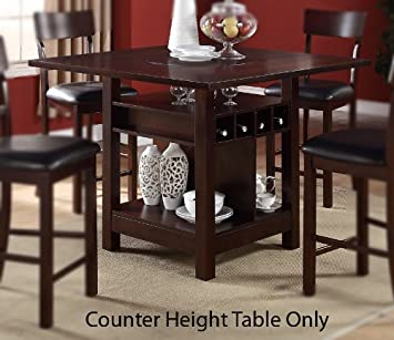 Counter Height Table W/Wine Storage And Shelves In Dark Rosy Brown Finish  By Poundex