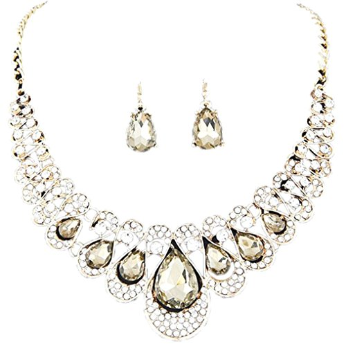 Deals Necklace+Earrings Jewelry Set Womens Mixed Style Bohemia Color Bib Chain Necklace Earrings Jewelry by ZYooh (Khaki)