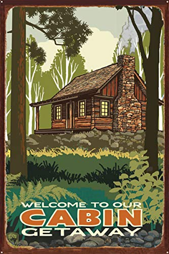 Welcome to Our Cabin Getaway Rustic Metal Art Print by Paul A. Lanquist (24