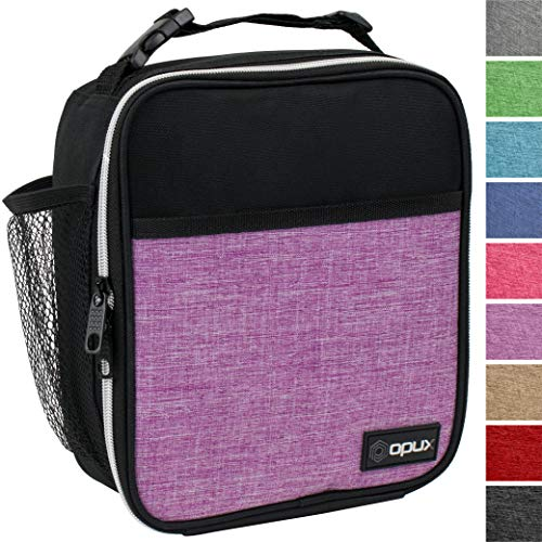 Box Purple Lunch - OPUX Premium Thermal Insulated Mini Lunch Bag | School Lunch Box For Teens, Adult Women | Soft Leakproof Liner | Compact Lunch Pail for Office Work (Heather Purple)
