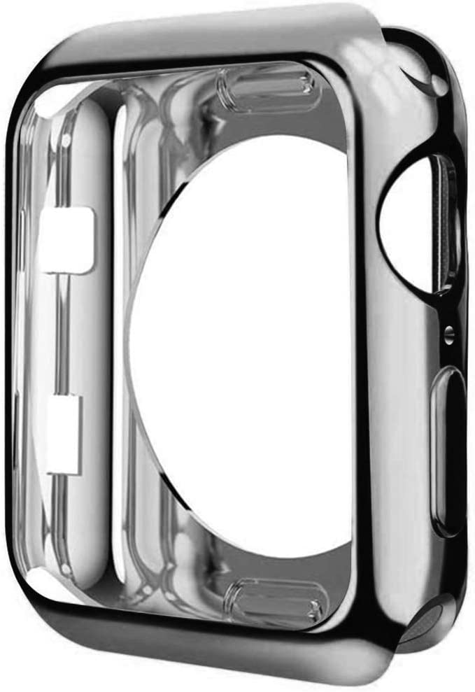 ONMROAD Grey Bumper Case Compatible with Apple Watch 44mm Series 5 Series 4, Around Soft TPU Plated Cover Protective Shockproof for iWatch Protector