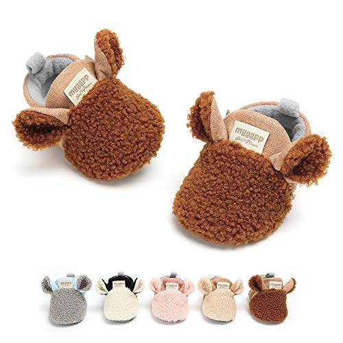 RVROVIC Baby Boys Girls Cozy Fleece Booties with Non Skid Bottom Warm Winter Socks