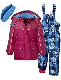 3-Piece Snowsuit for Girls & Toddlers – Flower Print Pant