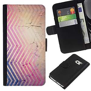 All Phone Most Case / Oferta Especial Cáscara Funda de cuero Monedero Cubierta de proteccion Caso / Wallet Case for Samsung Galaxy S6 EDGE // Lines Rustic Peeling Paint Purple