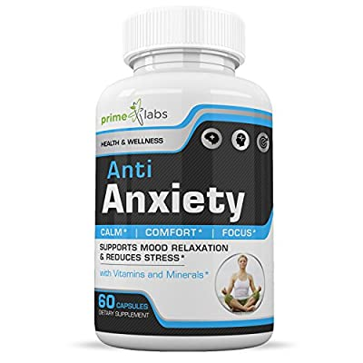 Prime Labs Anti Anxiety Supplement to Increase Energy, Mental Focus, Memory & Cognitive Function, Reduce Stress by Increasing Serotonin Without Feeling Tired - 60 Capsules