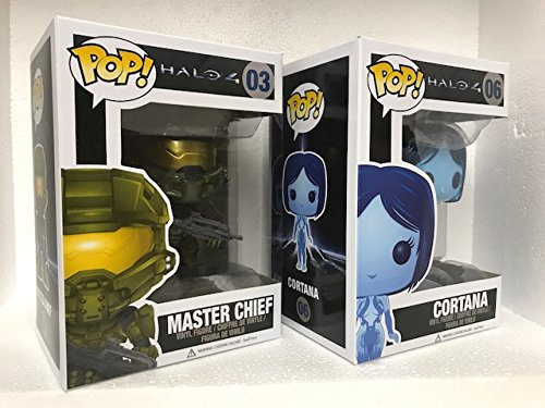 "Funko HALO 4 CORTANA & MASTER CHIEF 3.75"" POP 2PC BUNDLE in FUNKO STACKS POP PROTECTORS"