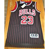 NBA Chicago Bulls Black Red Stripe Jersey, Michael Jordan (Adult Extra Large=XL)