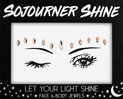 Witch Tattoos - Face Jewels Glitter Gems Rhinestones - Eye Body Jewels Gems | Rhinestone Stickers | Body Glitter Festival Rave & Party Accessories by SoJourner (Copper Shine)