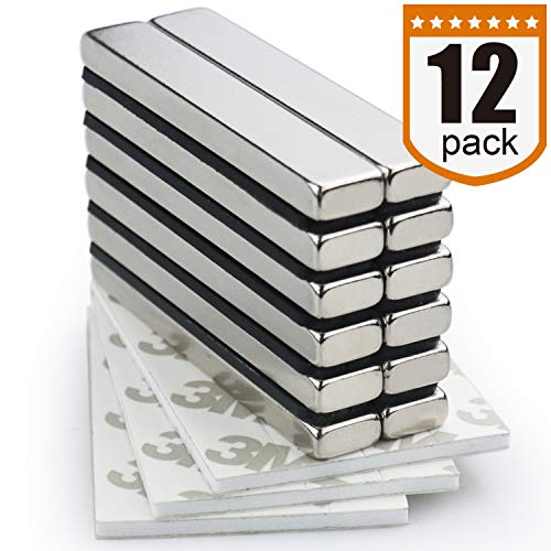 Strong Neodymium Bar Magnets with Double-Sided Adhesive - 60 x 10 x 5 mm, Pack of 12