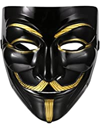 Durable Iconic Anonymous Face Mask Black & Gold Guy Fawkes Mask Perfect Fit Cosplay V for Vendetta