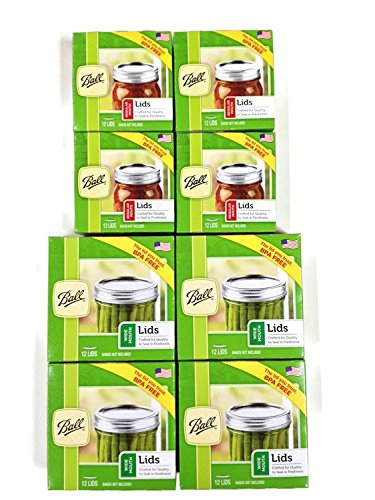 Ball Canning Lids Set of 4 Dozen Regular Mouth Lids and 4 Dozen Wide Mouth Lids - 4 Packs of each for a Total of 8 Dozens.