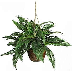 Nearly Natural Boston Fern Hanging Silk Plant 48