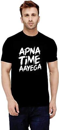 46ec13eb Parallel Times Men's and Women's Cotton Apna Time Aayega Printed Round-Neck  T-Shirt