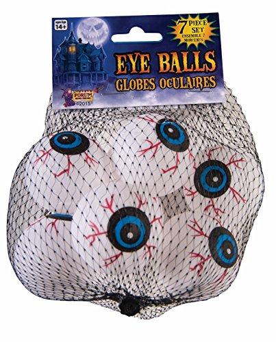 Halloween Eyeball Ping Pong Balls (Forum Novelties 75113 Lightweight Ping Pong Ball Type Fake Eye Ball Set (7) Individual Pieces in a Bag, 6 x 3 x 3