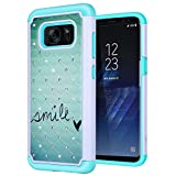 S8 Case, SGM Shock Resistant Studded Rhinestone Crystal Bling Hybrid Armor Case Cover for Samsung Galaxy S8 (NOT FOR S8 PLUS) (Smile (Mint))