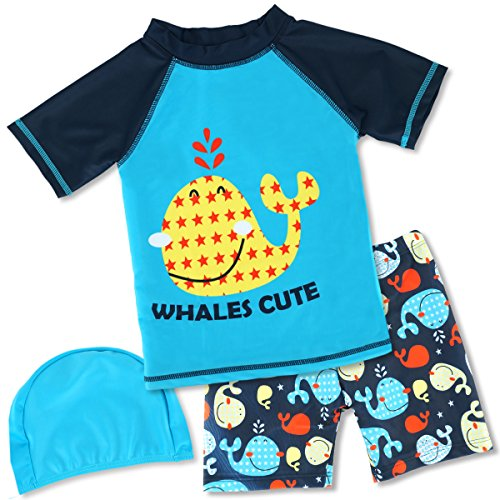 HONISEN Boys 2 Piece Rash Guard Swimsuits Kids Short Sleeve Sunsuit Swimwear UPF 50+ Bule 6T