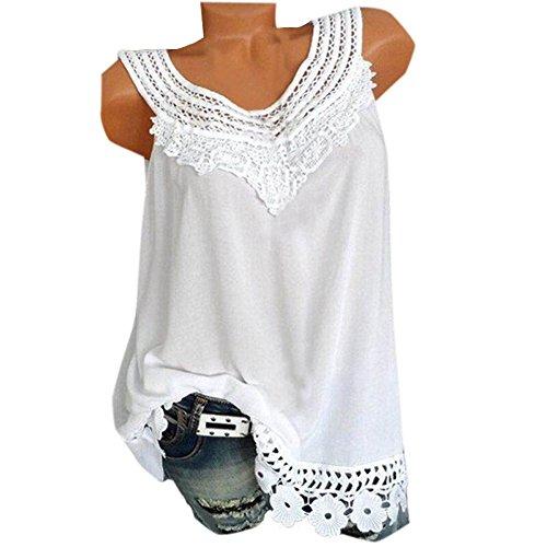 sans Haut Casual Dentelle pissure Manche T Mode Tops Shirt Smalltile Blanc Femme Col t Jeune Blouses Rond Vest SqEwfUROx