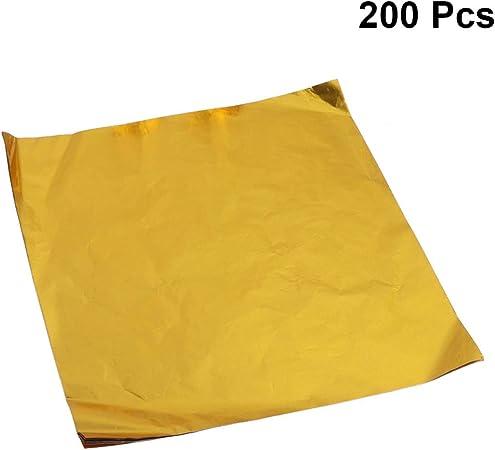 STOBOK Fogli di Carta Stagnola Dorata Imballaggi Alimentari Foglia Oro Imitazione Foglia Oro Fai da Te Caramelle al Cioccolato Confezionamento Decorazioni Arti Doratura Lavorazione 200Pz