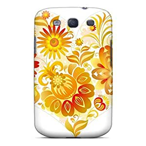 Excellent Galaxy S3 Case Tpu Cover Back Skin Protector Love Heart With Flowers