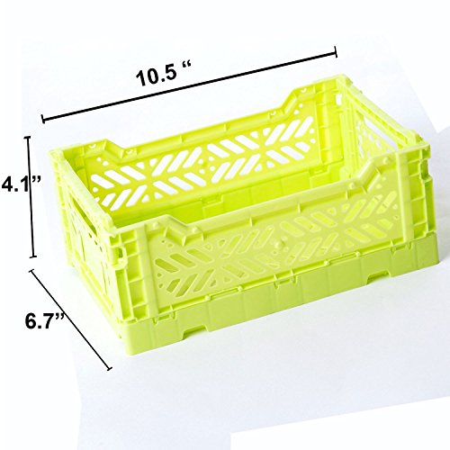 Price comparison product image AY-KASA Collapsible Storage Bin Container Basket Tote ,  Folding Basket CRATE Container : Storage ,  Kitchen ,  Houseware Utility Basket Tote Crate Mini-BOX ( LIME )