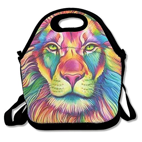 Lunch Lions Box (Cool Lion King Neoprene Lunch Bag Insulated Lunch Box Tote For Women Men Adult Kids Teens Boys Teenage Girls Toddlers (Black))