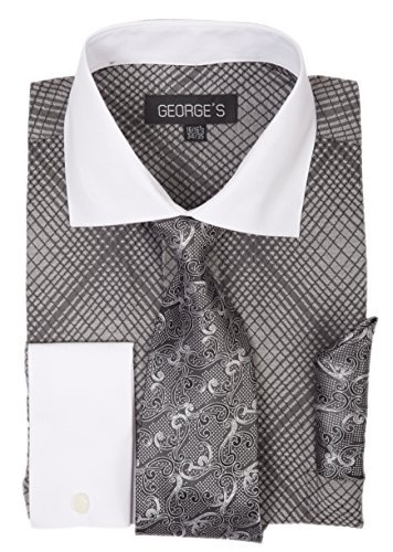 George's Small Check Pattern Fashion Dress Shirt with Woven Tie Set AH624 Black-17-17 1/2-34-35