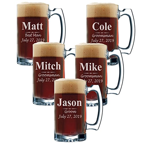 Set of 3, Set of 5 Set of 7 and more Personalized Groomsmen Beer Glasses - Custom Engraved Groom, Best Man Gift Mugs - 3 Lines Style 12 oz (5) by My Personal Memories