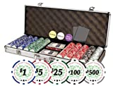 Complete Texas Hold'em set for your poker nights and casino parties. This premium set of 500 Casino Del Sol chips features 11.5 gram chips with heavy duty aluminum case, 2 decks of playing cards, 5 dice, 3 dealer buttons as shown, and 2 cut c...
