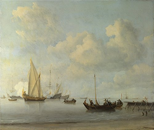 Oil Painting 'Willem Van De Velde Boats Pulling Out To A Yacht In A Calm ' Printing On Polyster Canvas , 8 X 9 Inch / 20 X 24 Cm ,the Best Bathroom Decor And Home Decoration And Gifts Is This Beautiful Art Decorative Canvas Prints