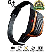 #LightningDeal Bark Collar [2020 Superhuman CHIP] Best for Small Medium Large Dogs, Most Effective Anti Bark Device 7 Sound and Vibro Modes, No Harmful Shock, No Pain for a Dog, Hypoallergenic (Black/Orange)