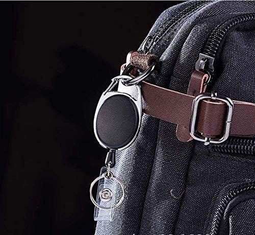 Tarjeta de identificaci/ón Llavero de oficina Cable Carrete de cord/ón Clip de llavero Retract Etiqueta de nombre Recoil Badge Belt Rope Holder Llavero Negro