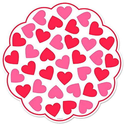 Radiant Valentine's Day Party Heart Printed Paper Doilies...
