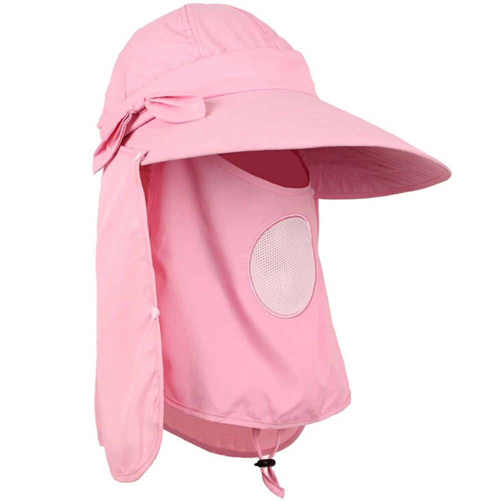 Ezyoutdoor紫外線対策Sun Hat with Removable Sun Shield andネックフェイスマスク保護with Foldingつばアウトドア帽子キャンプ釣りハンティング水泳のハイキング B01M133FGH  ピンク 迷彩