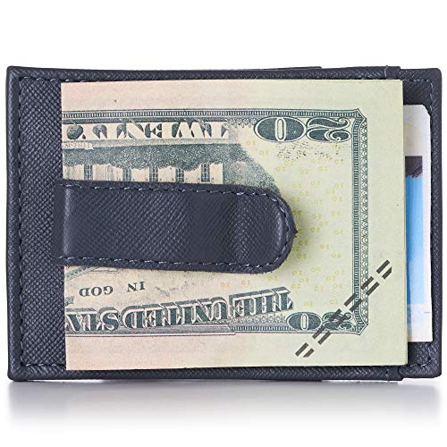 Alpine Swiss Mens Top Grain Leather Minimalist Money Clip Front Pocket Wallet Crosshatch Gray