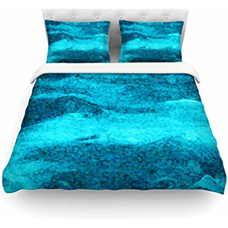 KESS InHouse SC2221ACD03 Duvet Cover Suzanne Carter Confetti Ocean Blue Teal Digital King Featherweight Duvet Cover 104 X 88