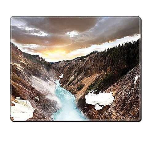 Mouse Pad Unique Custom Printed Mousepad Yellowstone Decor Canyon In Yellowstone Dramatic Sky Dark Clouds And Setting Sun Landscape Scenic Photo Brown Stitched Edge Non Slip Rubber