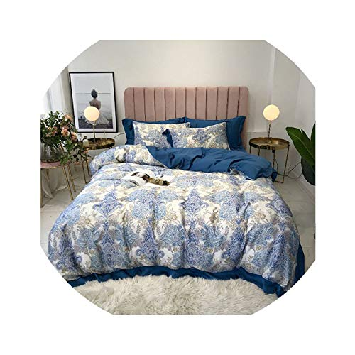 HANBINGPO Summer Tencel Silk Boho Bedding Sets Luxury Queen King Size Duvet Cover BedSheet Fitted sheeta Jogo de cama,Bedding Set 9,Queen Size 4pcs,Fitted Sheet Style]()