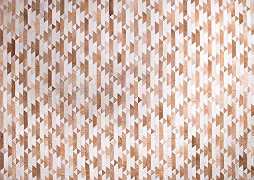 Tapete em Couro, Desenho Geométrico, Tapecouro, Bege/Branco