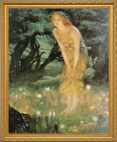 Midsummer Dream by Edward Robert Hughes Framed Fine Art Print Poster Custom Made Real Wood Traditional Gold Frame (18 1/8 x 22 1/8)