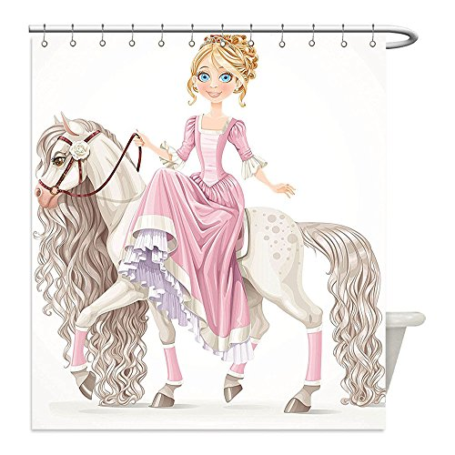 Liguo88 Custom Waterproof Bathroom Shower Curtain Polyester Teen Girls Decor Collection pretty Smiling Princess on A White Horse with A Long Mane Happiness Theme Cream Pink Decorative bathroom (Warrior Princess Costume Walmart)