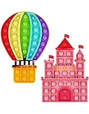 Aunifun 2 Pack Push Pop Bubble Sensory Fidget Toys, Simple Fidget Toy Pack Bubble Popper Silicone Squeeze Toy Stress Relief Hand Toys Party Favors (Castle, Hot Air Balloon )