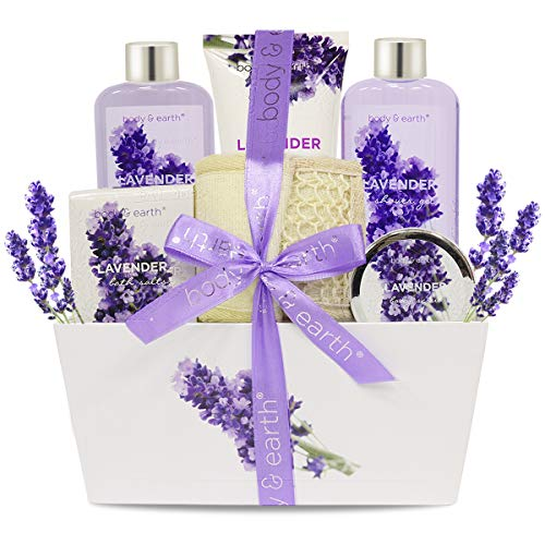 Bath Spa Gift Set, Body & Earth Gift Basket 6-Piece Lavender Scented Spa Basket Kits for Women, Contains Shower Gel, Bubble Bath, Body Lotion, Bath Salt, Body Scrub, Back Scrubber, Best Gift for Her from BODY & EARTH