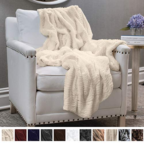 Company Original Luxury Faux Fur Throw Blanket, Super Soft Large Plush Reversible Blankets, Warm & Hypoallergenic Washable Couch/Bed Throws, Microfiber 65