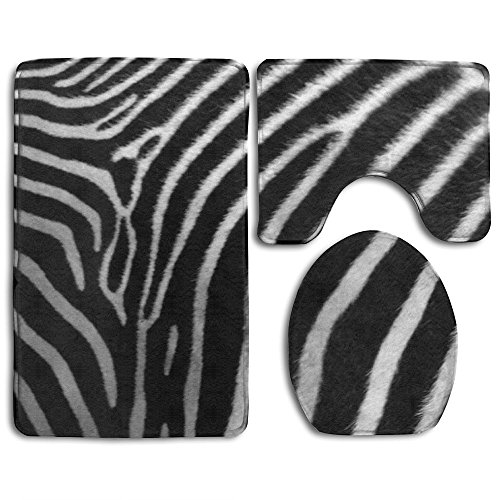 WEEDKEYCAT Black White Zebra Skin Striped Print Non Slip Large Home Bathroom Rugs Doormats,Soft Toilet Rug U-Shaped Mat,Cool Round Toilet Lid Cover 3 Pieces Set