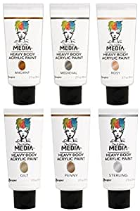 Dina Wakley - Metallic Heavy Body Acrylic Paints - Two Ouce Tubes - Ancient, Rosy, Medieval, Gilt, Penny & Sterling - 6 Tube Set